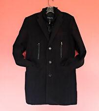 Paisley & Gray Black Cavalry Coat Topcoat Mens M 39 40 41 Winter Slim Insulated