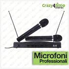 KIT COPPIA MICROFONI PROFESSIONALI WIRELESS CON CENTRALINA VHF BICANALI AT-306
