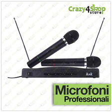 KIT COPPIA MICROFONI PROFESSIONALI WIRELESS CON CENTRALINA VHF BICANALI AT-306