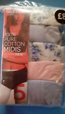 M&S Ladies Blue Mix Pure Cotton Mid Rise/Midi Shorts Knickers, size 28 (5 Pack)