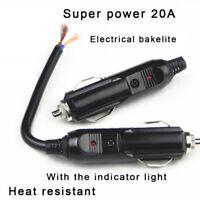 12/24V Male Car Cigarette Lighter BU Socket Plug Connector With 20A Fuse LED