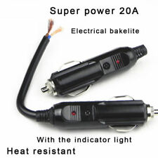 12/24V Male Car Cigarette Lighter BU Socket Plugs Connector and 20A Fuse Red LED