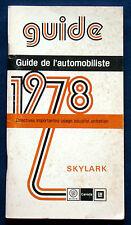 Owner's Manual Manuel  Betriebsanleitung 1978 Buick Skylark  (CDN)