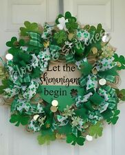 Clearance Sale!~LET THE SHENANIGANS BEGIN~ XL St Patrick's Day Front Door Wreath