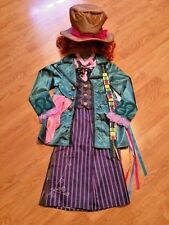 NEW DISNEY STORE Mad Hatter COSTUME S 5/6 +HAT Looking Glass ALICE IN WONDERLAND