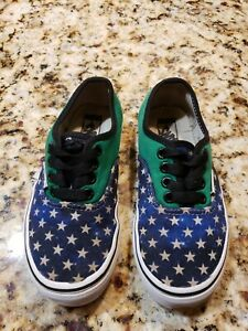 VANS AUTHENTIC STARS SHOE GREEN/WHITE/BLUE YOUTH  12Q