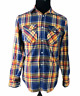 Hurley Mens Blue Yellow Orange White Plaid Long Sleeve Button Front Shirt Small
