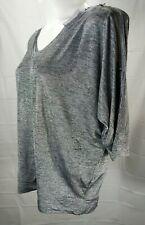 LANE BRYANT Women's Plus Light Gray V-Neck 3/4 Sleeve Top size 18/20 NWT