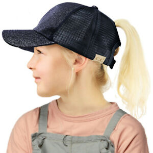 C.C Kids 2-7 Ponytail Messy Buns Ponycaps Baseball Visor Cap Hat
