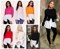 Puff Sleeve Layered Look Jumper Shirt Frill Hem Long Sleeve Tops T-Shirt Blouse