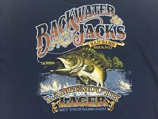New Men's BLACKWATER JACKS Large Mouth Lager XL Navy Blue Long Sleeve T-Shirt