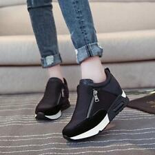 Fashion Women Leather High Top Hidden Wedge Heel Casual Flat Sneakers Shoes LG