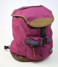 Vtg 90s EASTPAK Berry Red Pink Leather Drawstring Satchel Book Bag Backpack L