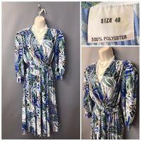 Vintage Blue Green Mix Plisse Wrap Belted Pleated Dress UK 20 EUR 48