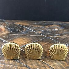 Partylite Brass Hurricane Feet Holders Shells Sea Shells