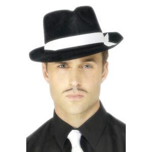 Mafia Hut Gangster schwarz Fedora Gangsterhut Al Capone Mafiahut mit weißen Band