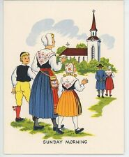 VINTAGE SWEDISH SUNDAY CHURCH CABBAGE ROLLS RECIPE PRINT  HORSE CAT CHICKEN CARD