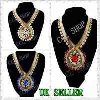 Luxury Vintage Snake Chain Chunky Statement Bib Diamond Necklace  UK 1ST CLASS