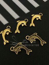 PJ294 /20pc Tibetan Gold Bead Charms Dolphin Accessories Jewelry Findings