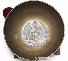 "10"" Tibetan Hand Crafted Buddha and Dorje Himalayan Singing Bowl"