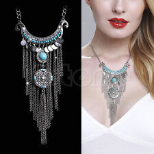 Retro Bohemian Gypsy Style Turquoise Tassel Long Chain Choker Pendant Necklace