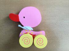 Ziehspielzeug Ente Holz Holzente Ziehen Nachziehtier rosa/gelb Mädchen Spielzeug