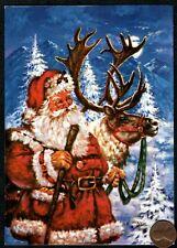 Christmas Santa Reindeer Deer Trees Moon Trees - Christmas Greeting Card New