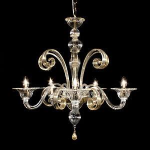 Bassa laguna chandelier in Murano glass 6 lights crystal gold
