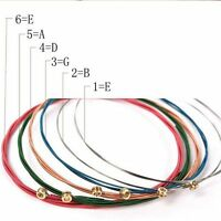 Acoustic Guitar Strings One Set 6pcs Guitar Strings Rainbow Colorful Color