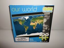 New ! **Our World Map** 100 Piece Puzzle Satellite Image **Glow in the Dark**
