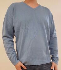 Gents Mens V-Neck Knitted Jumper Extra Large Sweater Pale Blue Long Sleeve TG XL