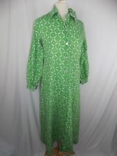 Women's Size Medium Green L/S Button Fishing Fish Print Dress