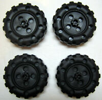 Plastic Tinker Toys Parts Lot: 4 BLACK WHEELS Replacement Pieces Wood Jumbo Set