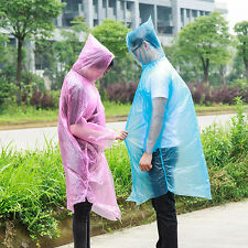 2x Disposable Adult Emergency Waterproof Rain Coat Poncho Hiking Hood Tackle·Pro