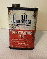 VINTAGE BLUE RIBBON PENETRATING OIL HANDY OILER 16 OZ. Rare Old Advertising Can