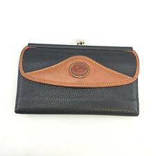 Dooney & Bourke Bifold Wallet Navy Blue Brown Long Large Designer Vintage Damage