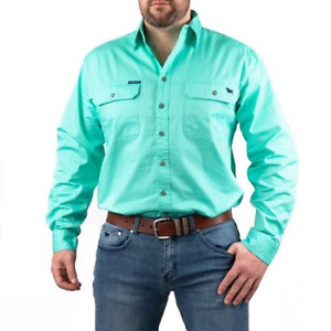 King River Mint Full Button Work shirt Ringers Western