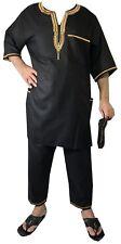 Men's Dashiki African Pant Suit Traditional Cultural Set Plus Size Black Gold