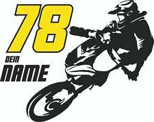 XL Motocross MX Auto Aufkleber Schwarz Sticker Wunschnummer Wunschname 50x70cm