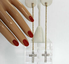 "Diamond cross chain drop earrings 14K 2 tone gold round baguette .80CT 5.4G 4.5"""