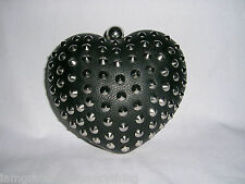 Topshop In Finta Pelle Nero Borchie Cuore CLUTCH BAG