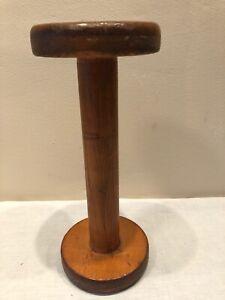 Vintage WOODEN Bobbin Spool Dumbbell Cylinder TEXTILE MILLS Primitive #2
