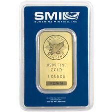 1 oz Sunshine Gold Bar (New w/ Assay, MintMark SI)