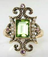LARGE 9K 9CT GOLD PERIDOT PEARL PINK TOURMALINE VICTORIAN INS RING FREE RESIZE