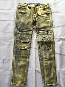 ROBIN'S JEAN Men's Racer Slim Skinny Biker Jeans Gold Waxed Zip Pockets Size 38