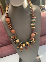 Roxsann Signed Bohemian Natural Wood Ceramic Stone Statement Beaded Necklace