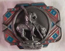 Vintage American Indian Belt Buckle Horse Rider Siskiyou