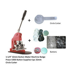 32mm Button Maker Machine Badge Press+1000 Button Supplies+32mm Circle Cutter