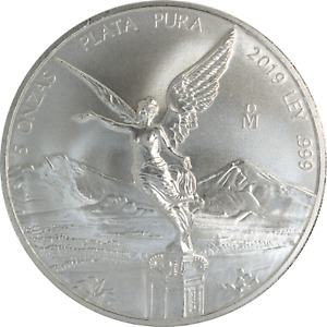 5 oz Silver Coin 2019 Mexico Libertad 5 Onzas Plata Pura .999 Fine
