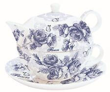 """Tea for One Set Teekanne Tasse und Untertasse """"Blue Roses"""" Nuova R2S EasyLife"""